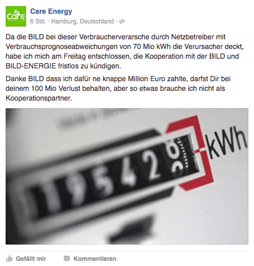 BILD-Energie Kooperation mit Care Energy