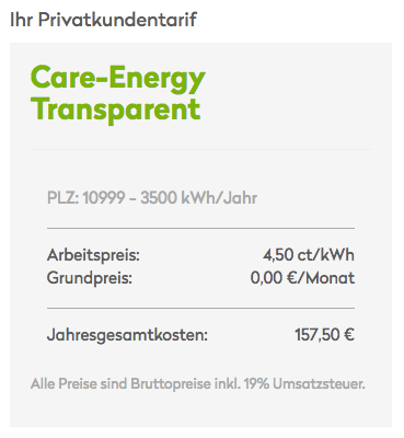 Care Energy Transparenz-Tarif Kosten
