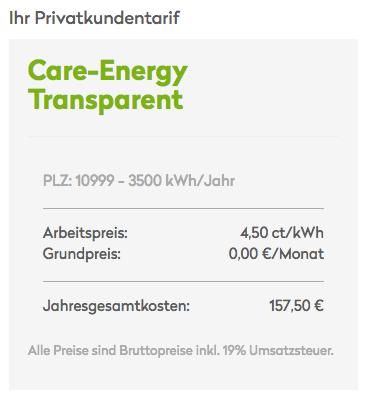 Care Energy Transparenz-Tarif Kosten
