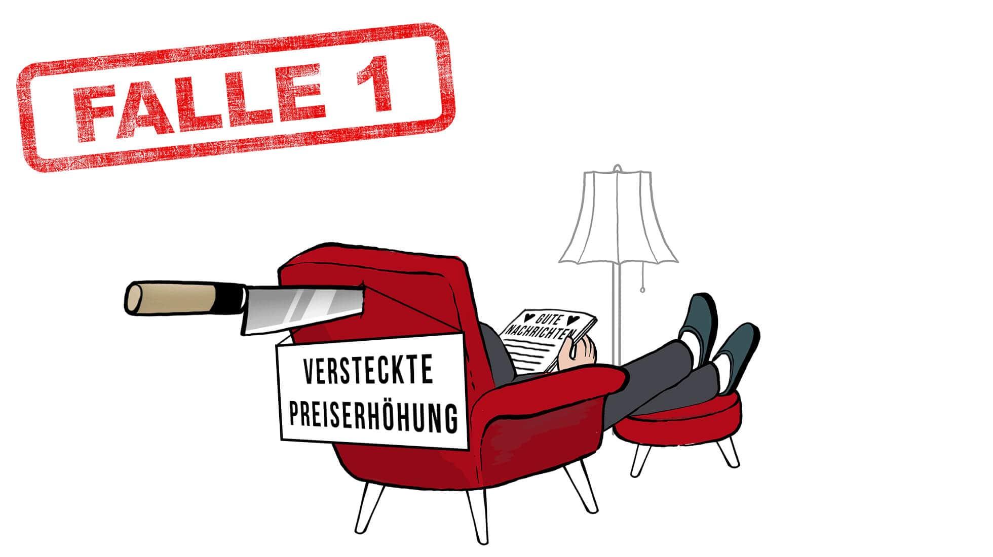 """Stromvergleich Falle 1: Verbraucher sitzt mit dem Rücken zum Betrachter in einem roten Sessel. Im Sesselrücken steckt ein Messer mit einem Schil (Versteckte Preiserhöhung) und auf dem Schoß hält der Verbraucher ein Schreiben mit dem Titel """"Gute Nachrichten""""."""