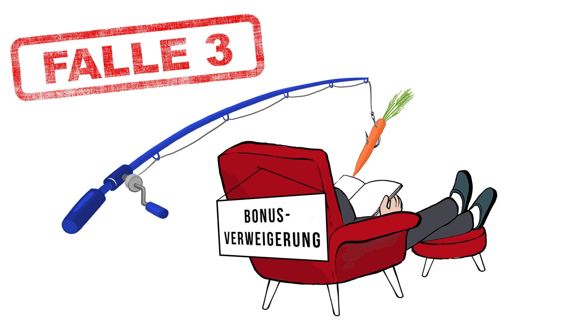 Stromvergleich Falle 3: Der Verbraucher sitzt mit dem Rücken zum Betrachter in einem roten Sessel. Auf dem Sesselrücken ist ein Schild befestigt (Bonus-Verweigerung). Über dem Verbraucher hängt eine blaue Angel, an dessen Ende eine Karotte befestigt ist.