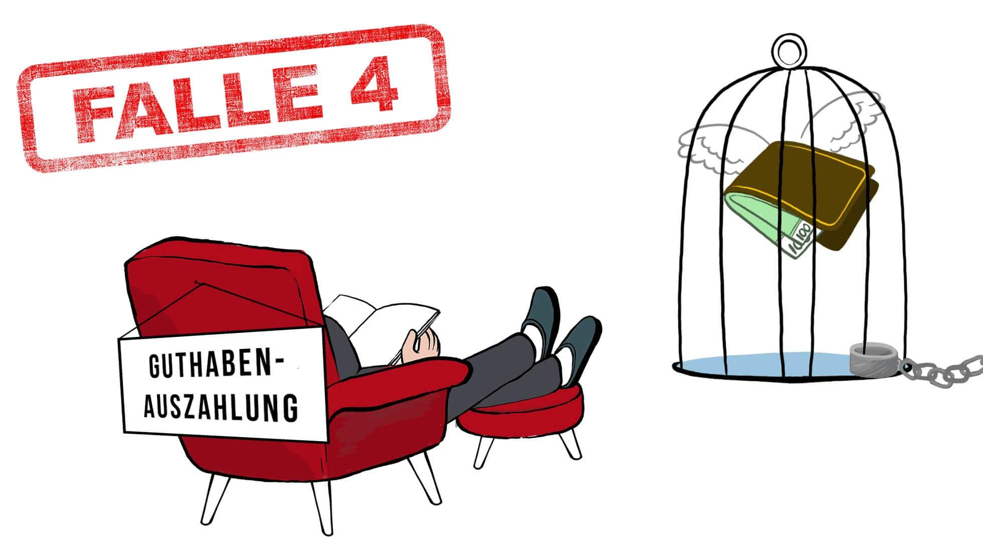 """Stromvergleich Falle 4: Der Verbraucher sitzt mit dem Rücken zum Betrachter. Am Sesselrücken ist ein Schild befestigt: """"Guthaben-Auszahlung"""". Der Verbraucher blickt in die Richtung von einem angeketteten Käfig. In diesem Käfig flattert sinnbildlich eine Geldbörse mit Flügeln und Geldscheinen, gefangen."""
