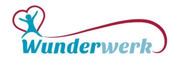 Firmenlogo der Wunderwerk AG. Ein blauer Schriftzug, ein blaues springendes Strichmännchen und ein Rotes Herz.