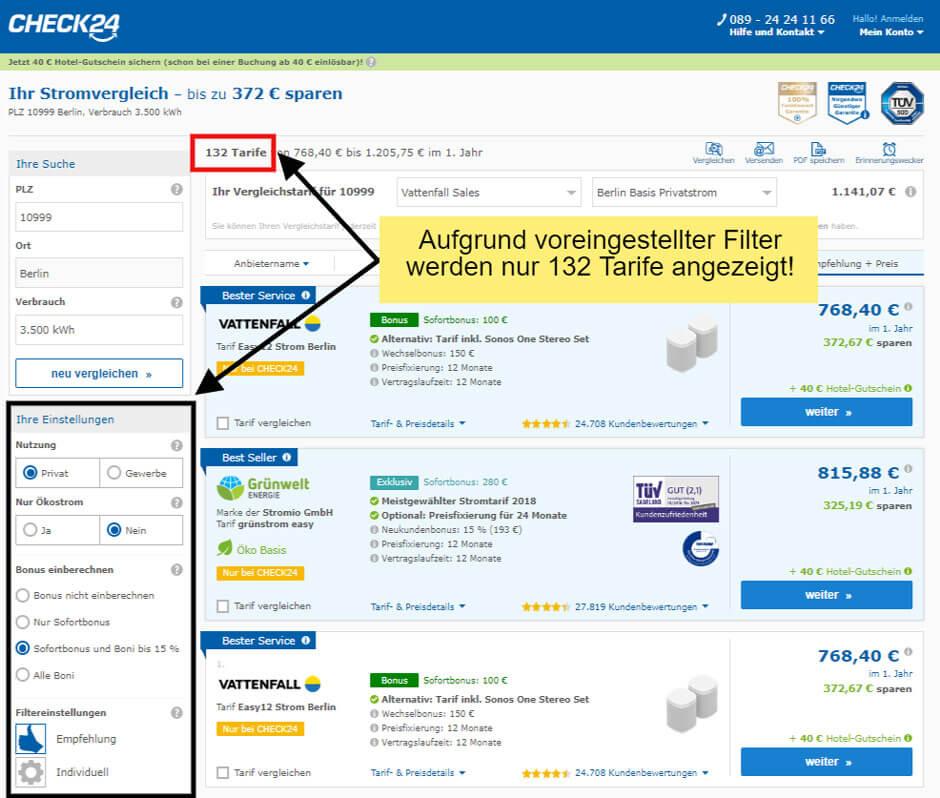 Voreingestellte Filtereinstellungen Strom-Preisvergleich in Berlin auf dem klassischen Vergleichsportal Check24