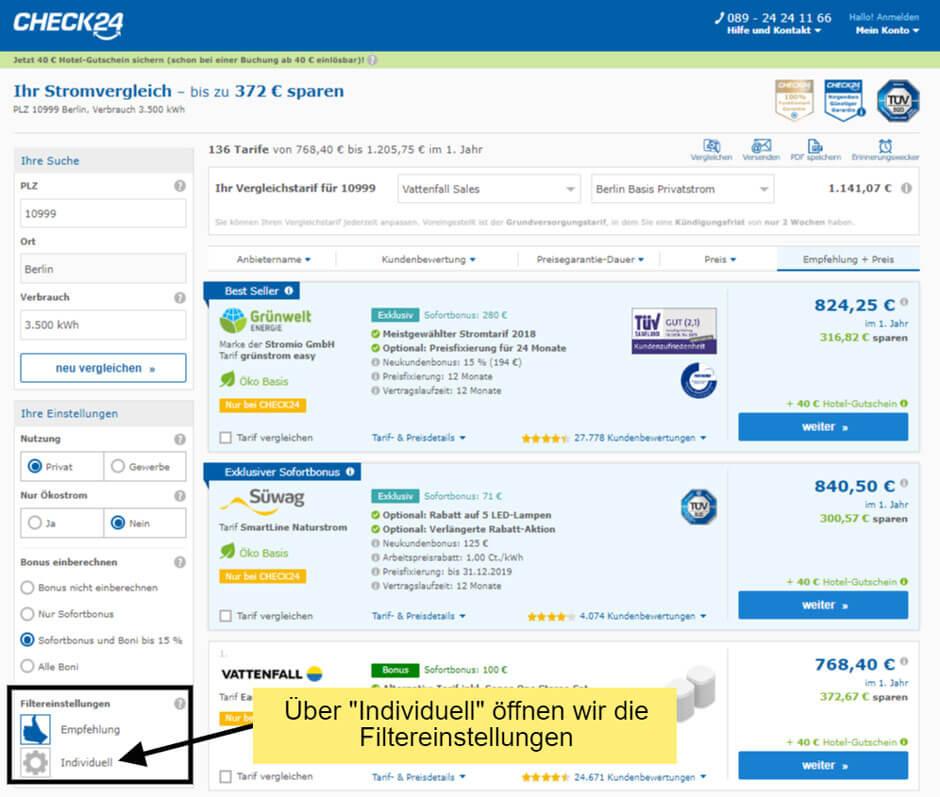 individuelle Filtereinstellungen beim Strom-Preisvergleich über Check24