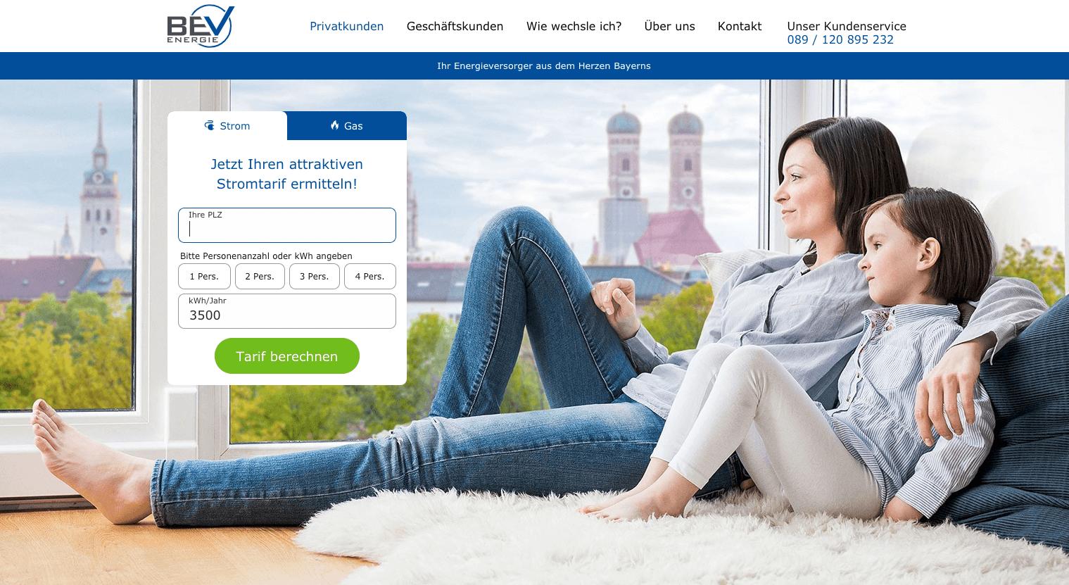 BEV Energie Homepage