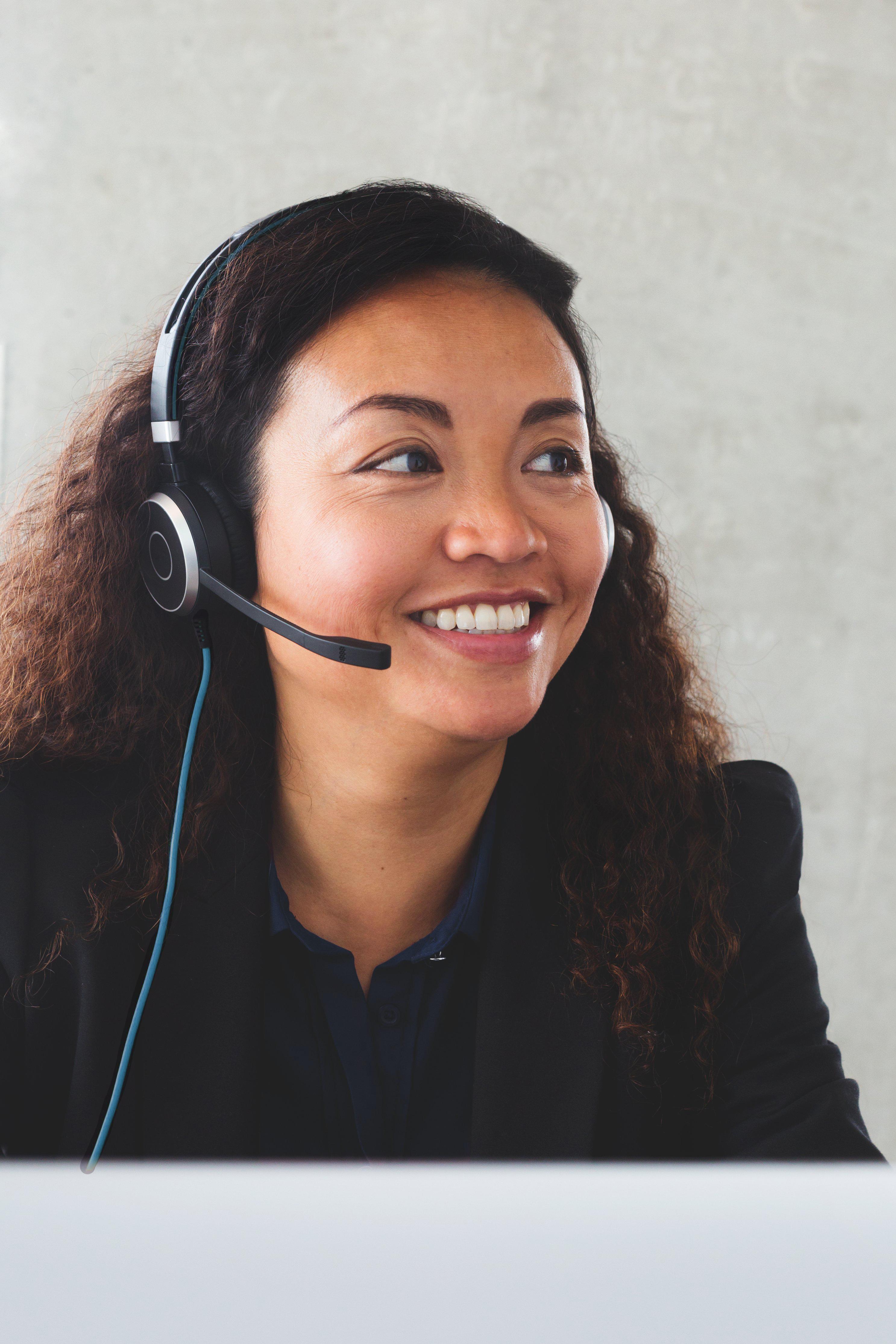 Female consultor smiles