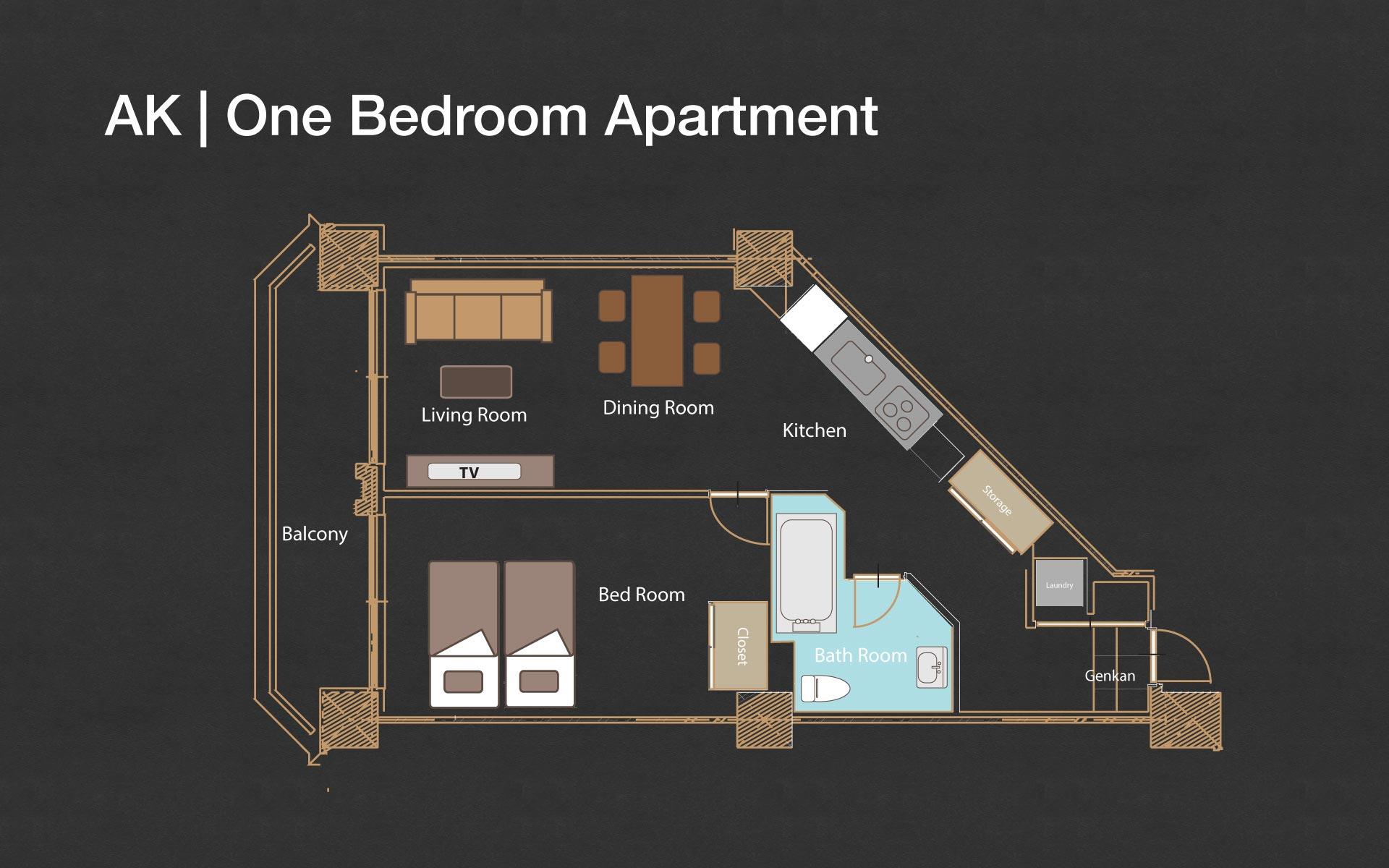 Akazora one bedroom floorplan