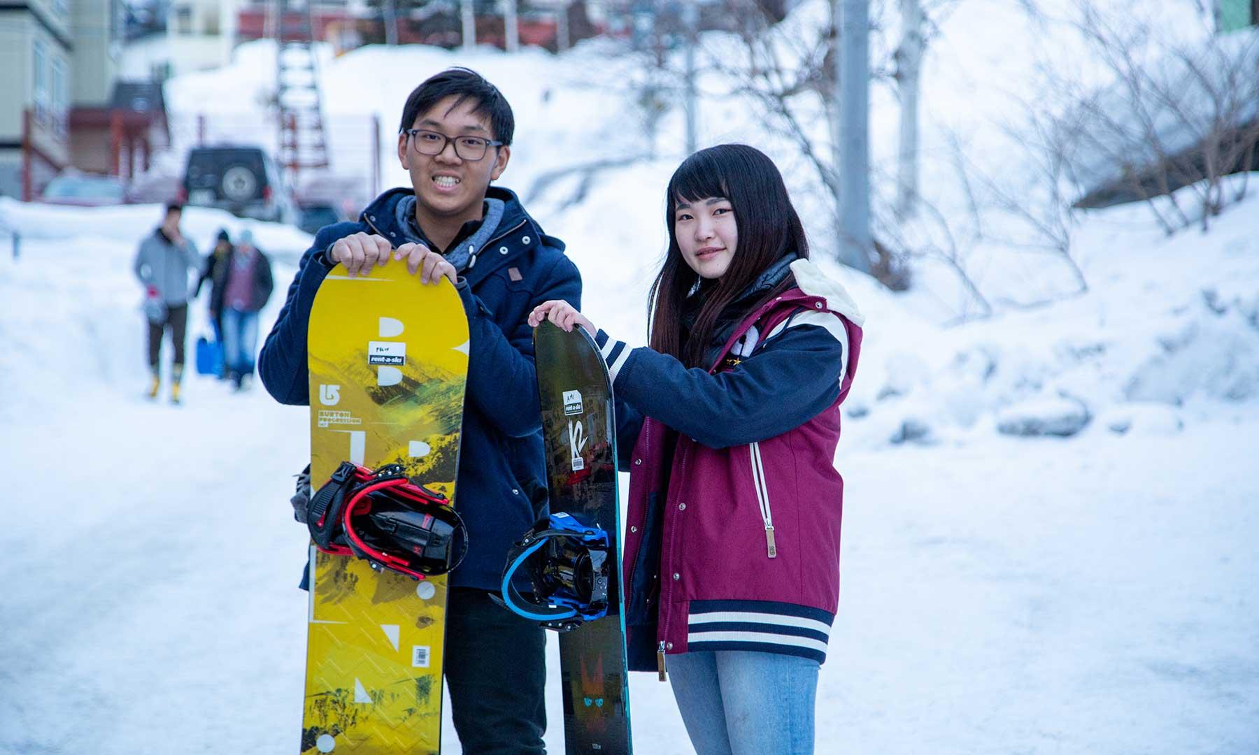 Japanese university interns before their snowboarding lesson