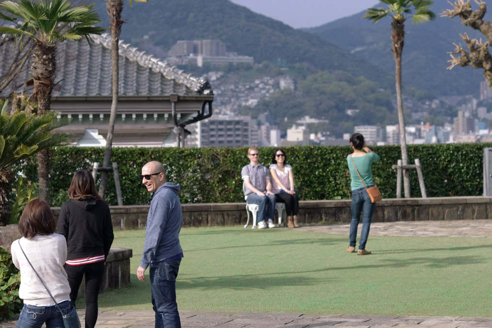 People standing around in garden