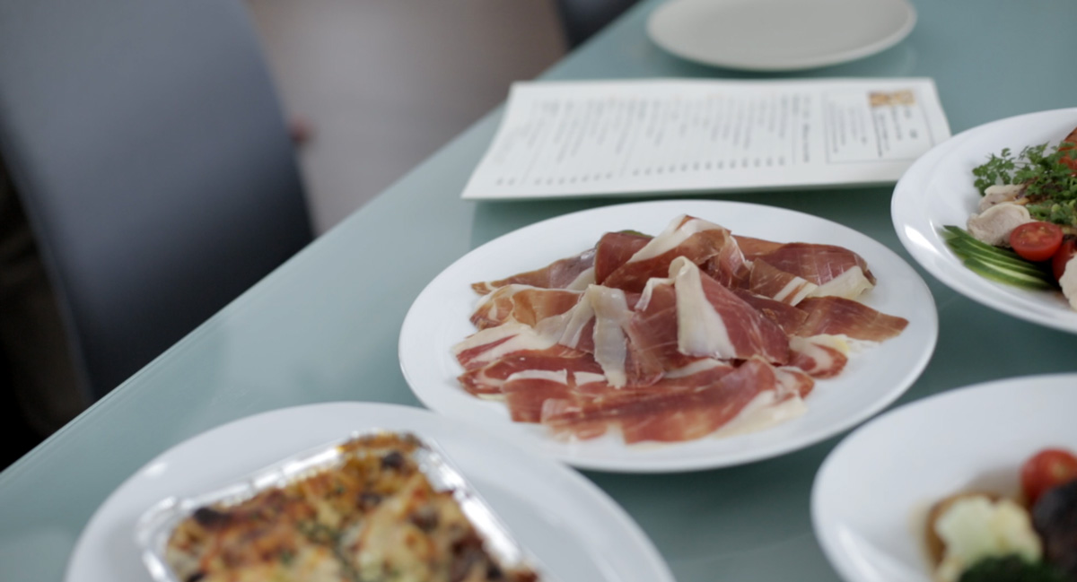Cold meats on plates