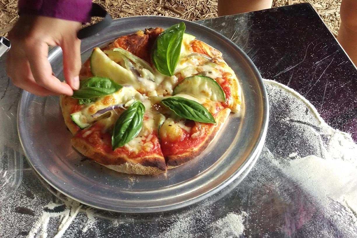 Freshly cooked wood fire pizza