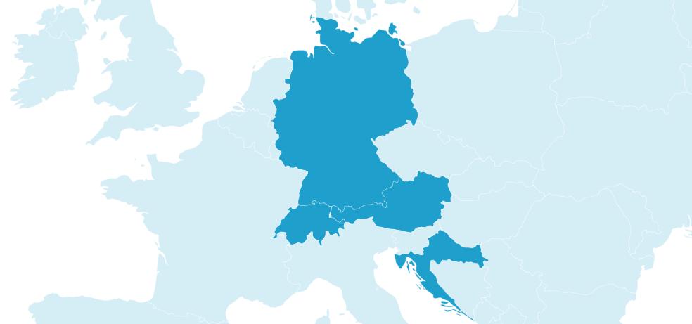 Karte auf der Deutschland, Österreich, die Schweiz und Kroatien markiert sind.