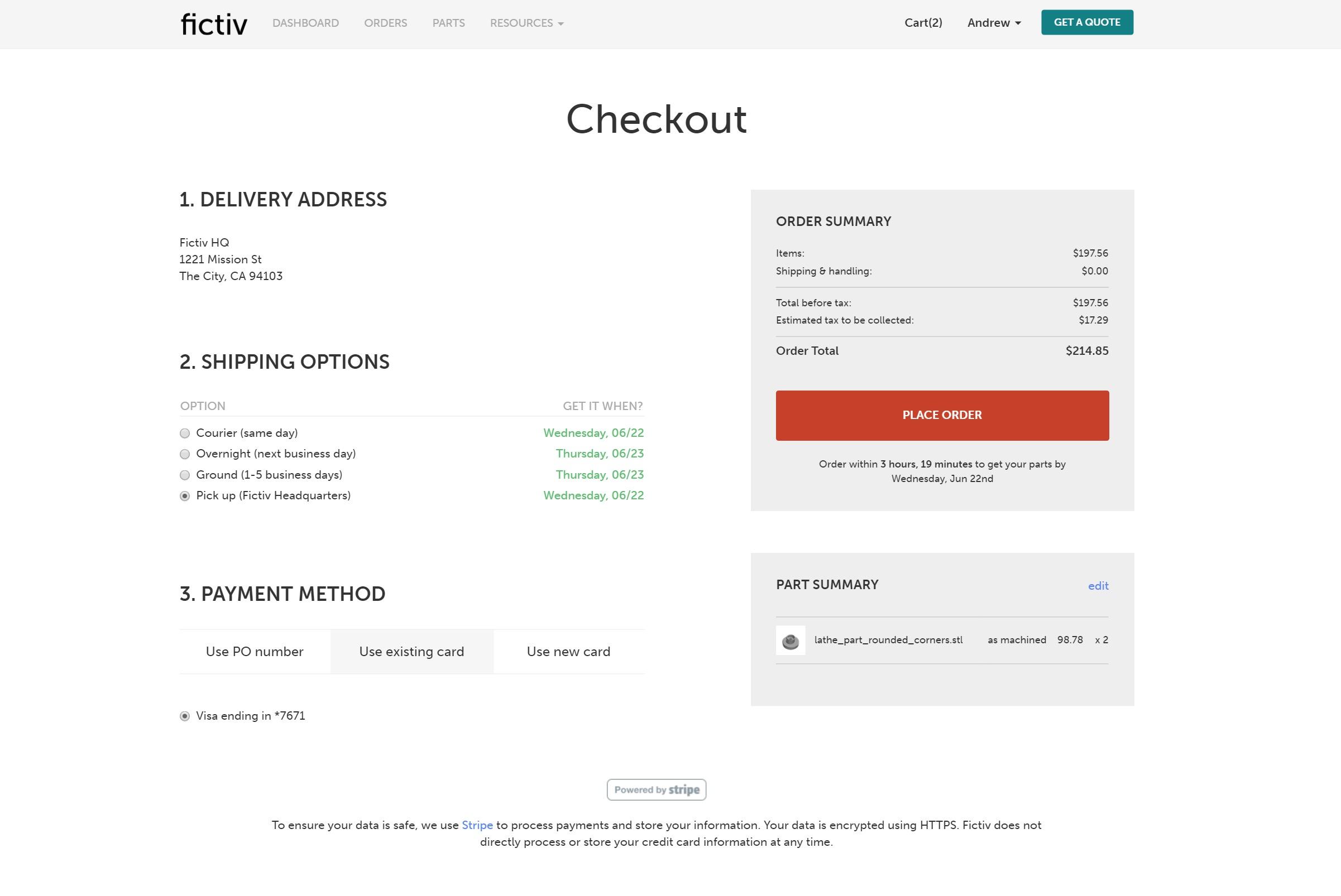 fictiv platform checkout page