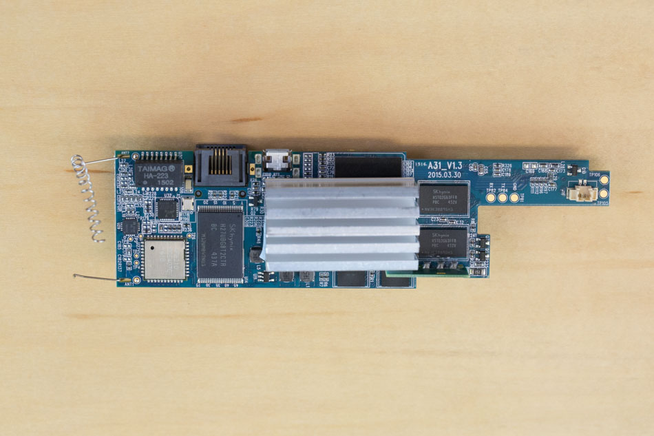 Netatmo security camera board with heat sink attached