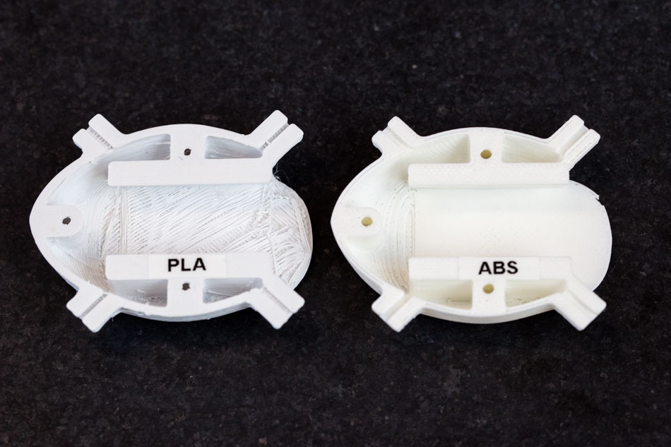 side-by-side PLA and ABS comparison