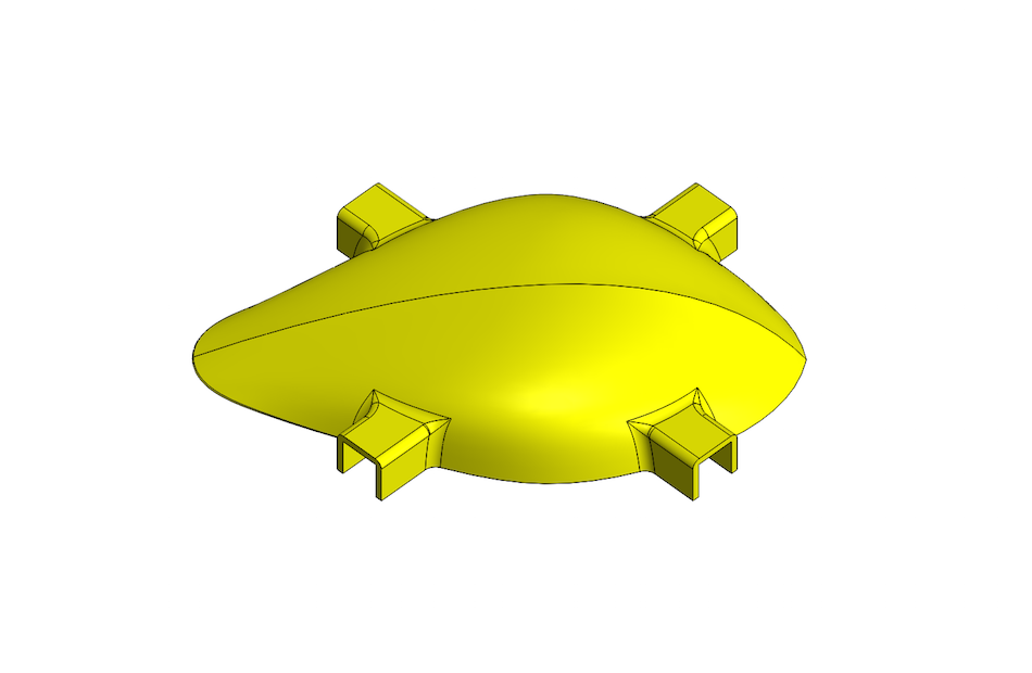 model of top of drone body, using different materials