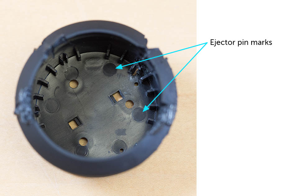 injection molded knob with ejector pin marks