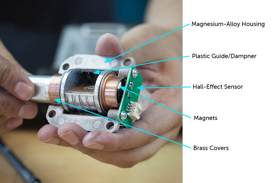 Inside the steel knob: plastic guide, hall-effect sensor, magnets and brass covers
