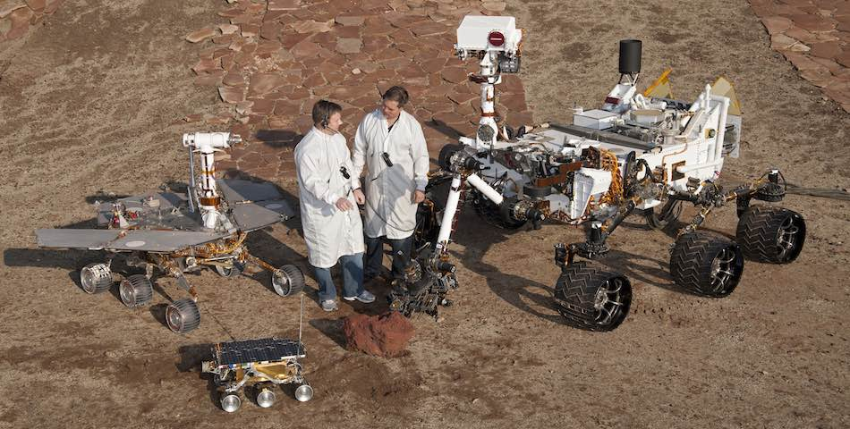 Jet Propulsion Lab Mars Yard Testing Area with 3 Mars Rovers