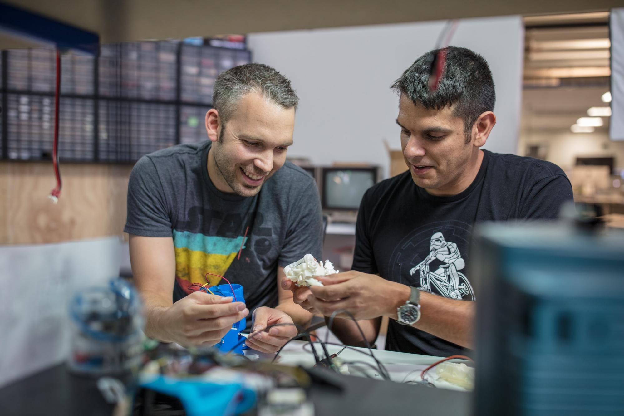 sphero engineers working on a prototype