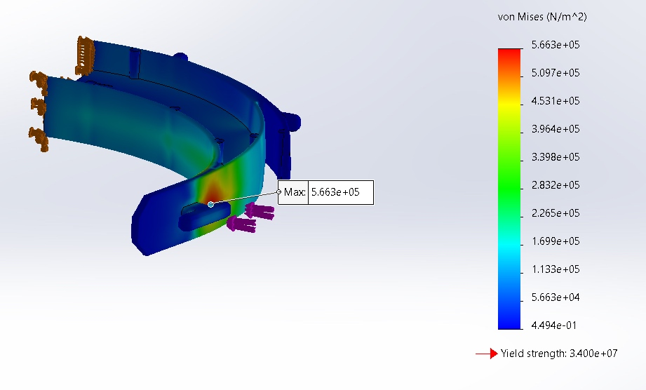 FEA of face shield model in Solidworks