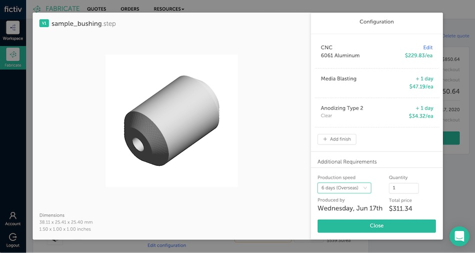 fictiv platform configuration tool for cnc parts and surface finishing