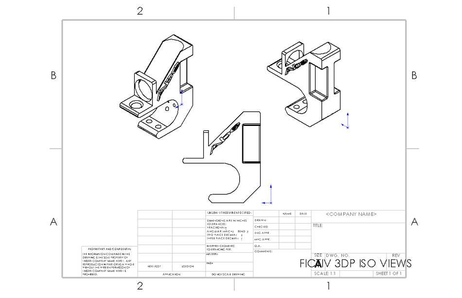 Engineering Drawing of 3D Printed Test Design