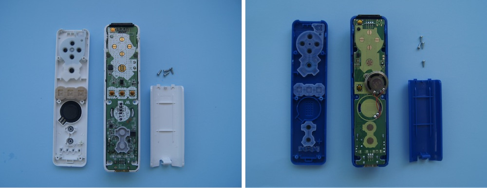insides of two Wii controllers