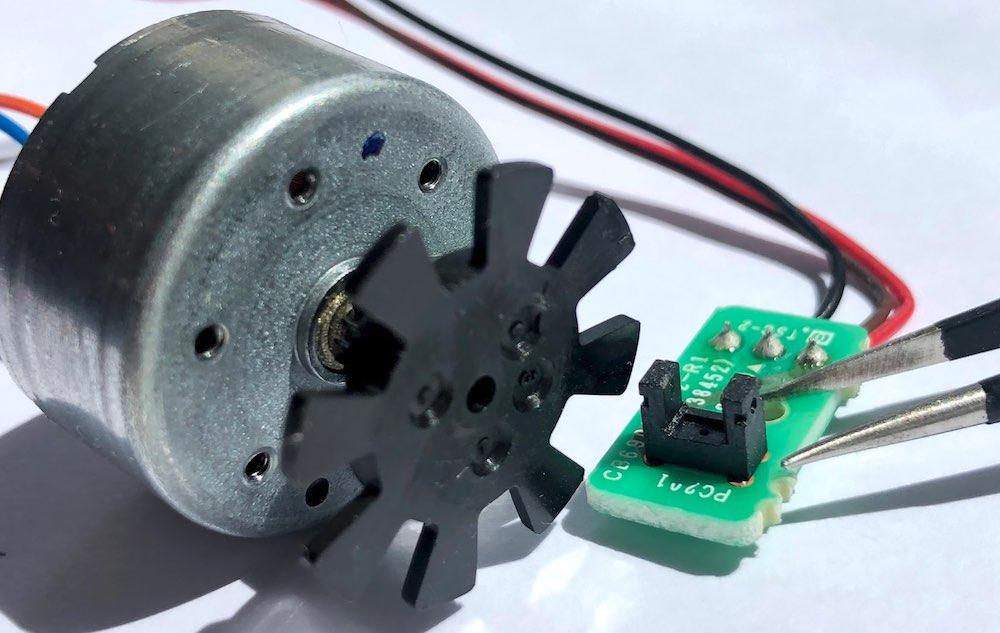 DC motor and encoder