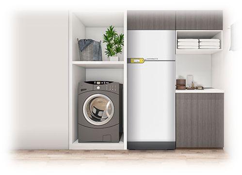 Pompe à chaleur géothermique ayant la taille d'un réfrigérateur y compris ballon eau chaude sanitaire