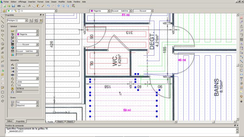 Copie d'écran du logiciel de calepinage pour plancher chauffant Caleosol