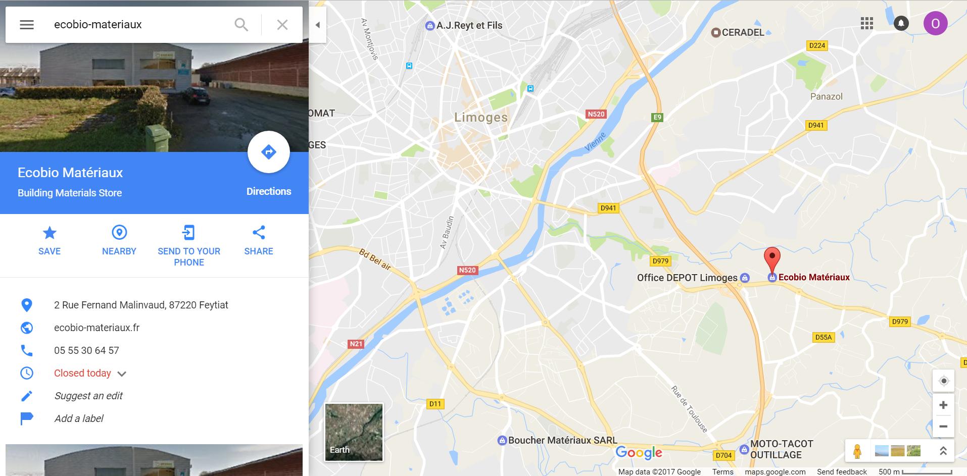 Position magasin plancher chauffant EcoBio Matériaux à Limoges