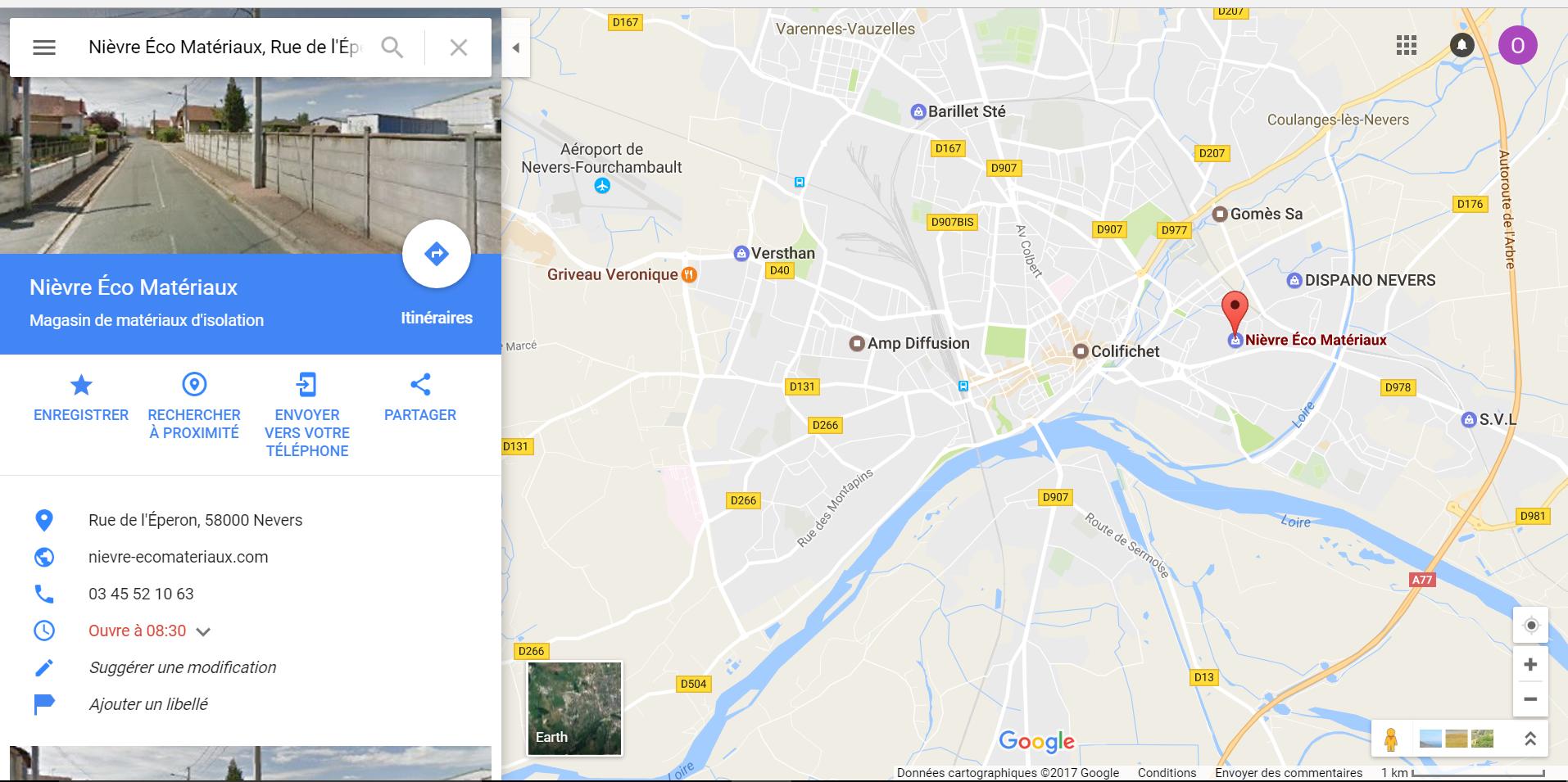 Position magasin plancher chauffant Nièvre Eco Matériaux à Nevers