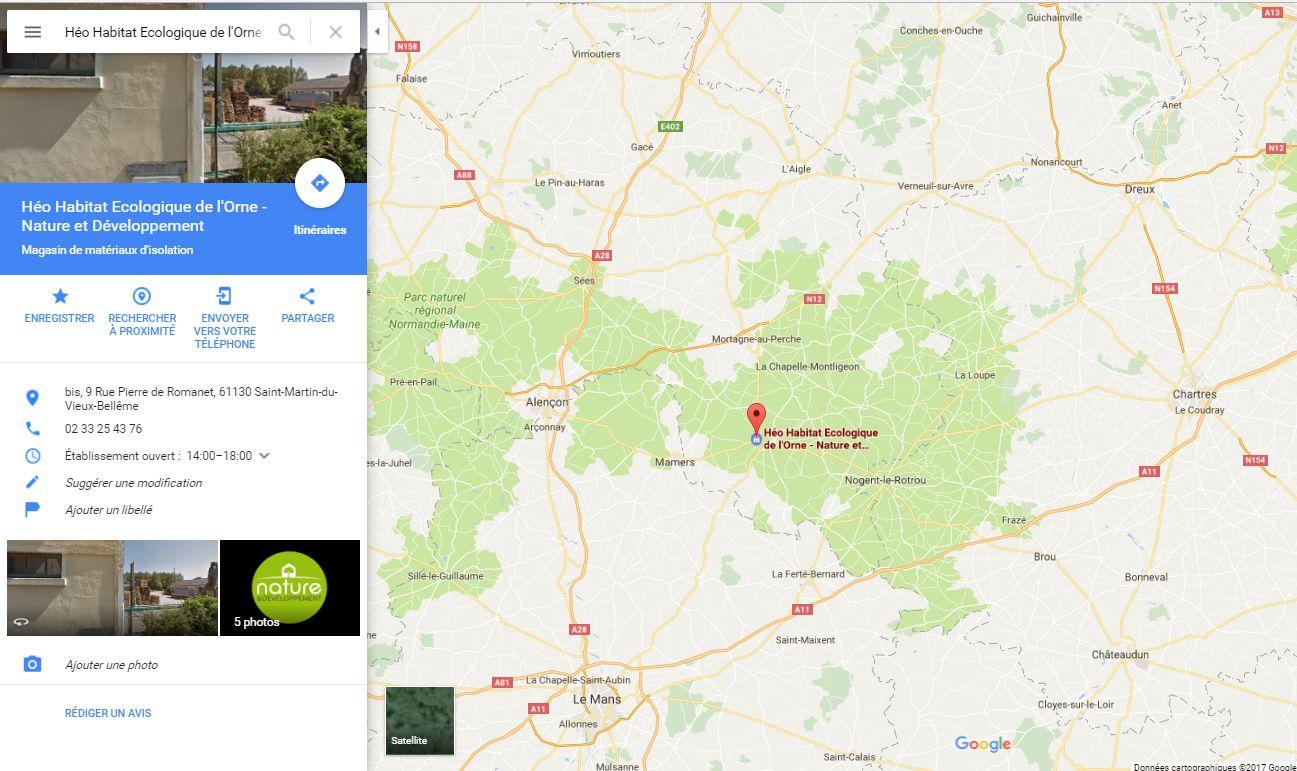 Position du magasin plancher chauffant  Héo Habitat Écologique de l'Orne à côté de Alençon