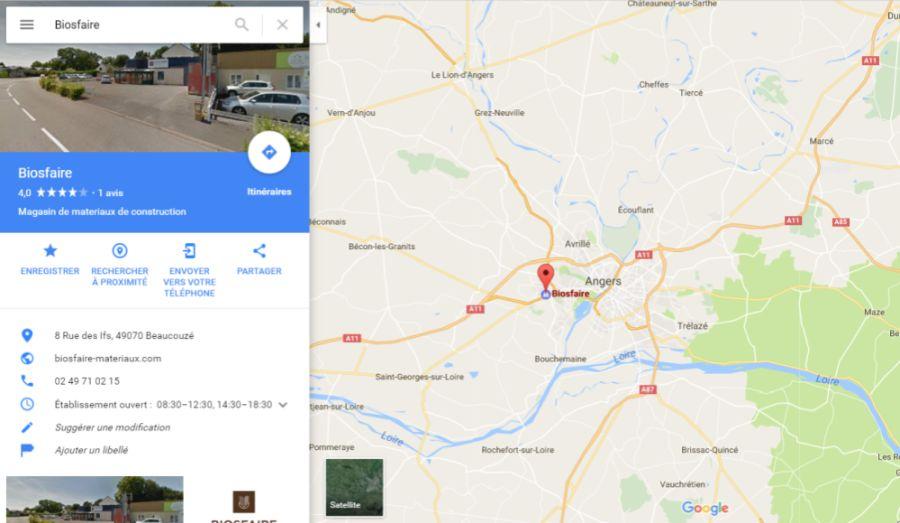 position du magasin plancher chauffant Biosfaire à Angers
