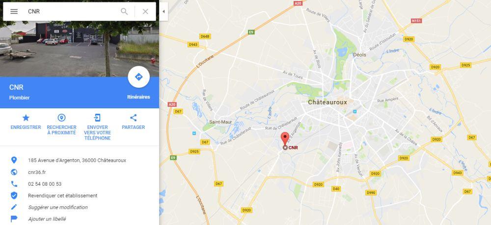 Position du magasin plancher chuffant CNR à Châteauroux
