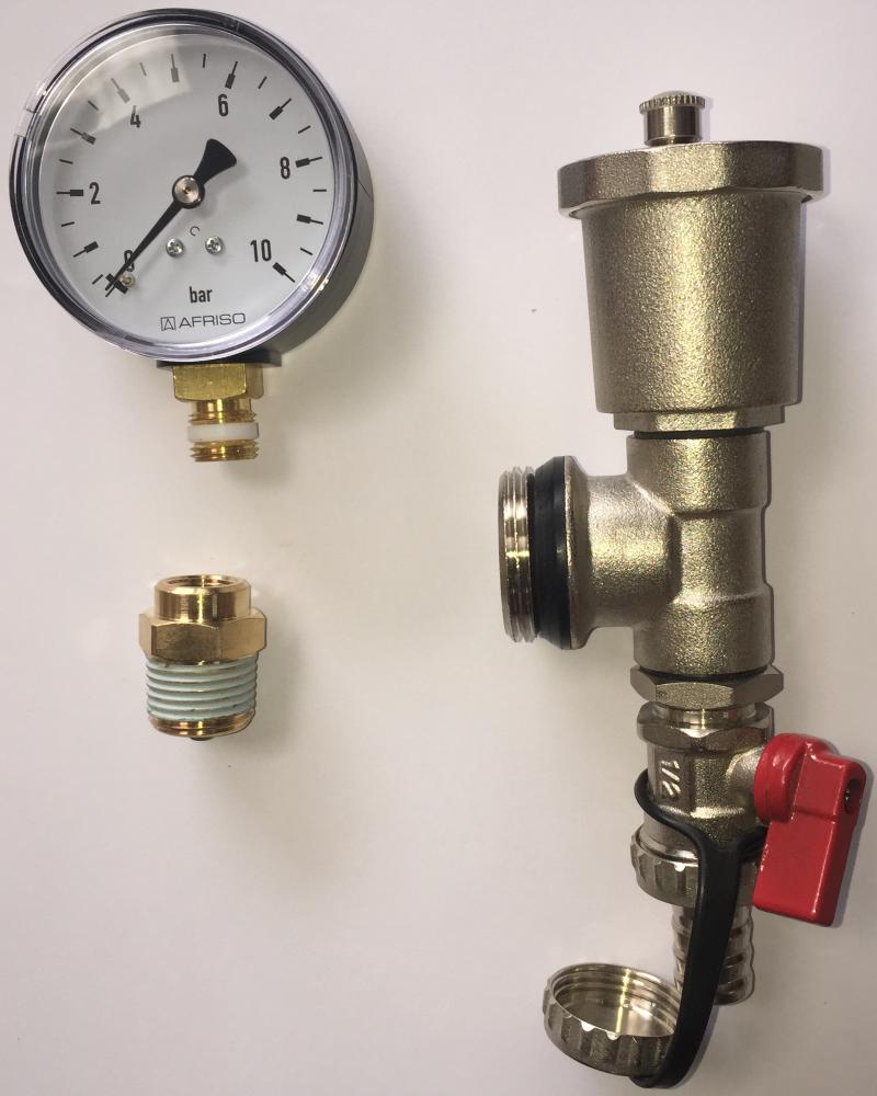 Manomètre de test à la pression pour collecteur Caleosol