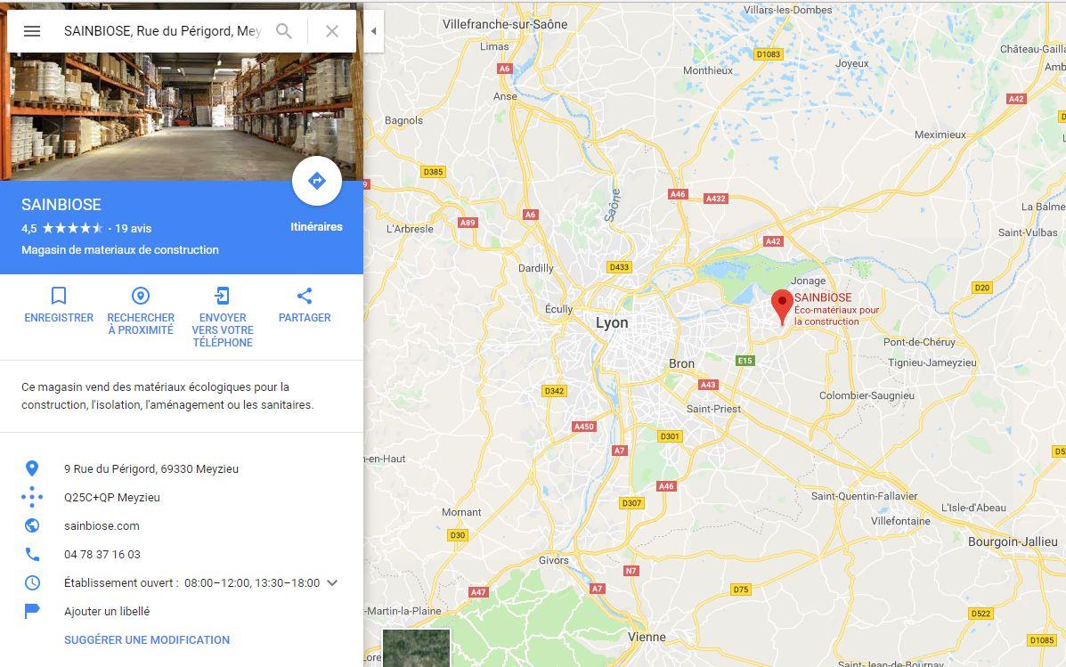 Position du magasin plancher chauffant Sainbiose à côté de Lyon