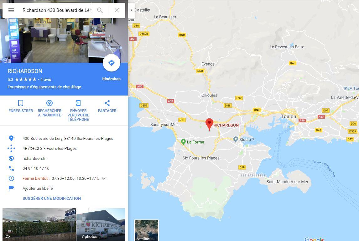 Position du magasin plancher chauffant Richardson à côté de Toulon