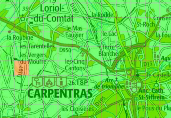 Exemple de carte vert/orange pour l'étude de géothermie