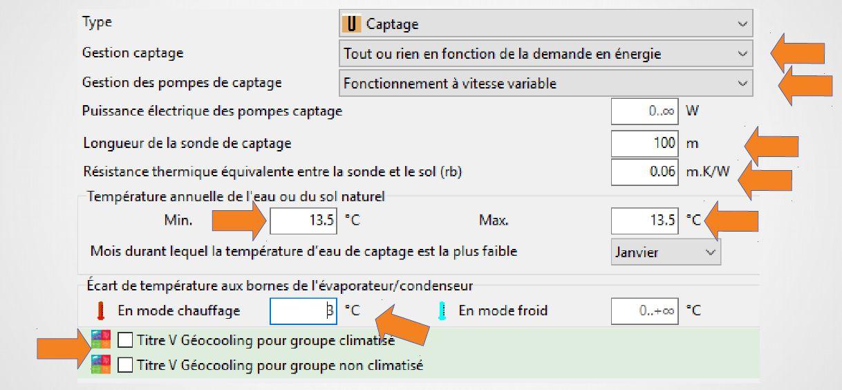 Paramètres de captage sur logiciel RT2012 - Source AFPG