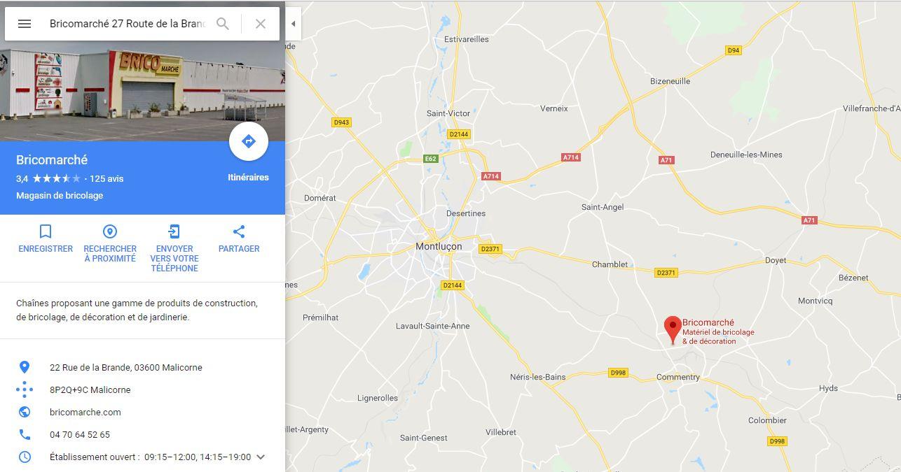 Position du magasin plancher chauffant Bricomarché à Montluçon
