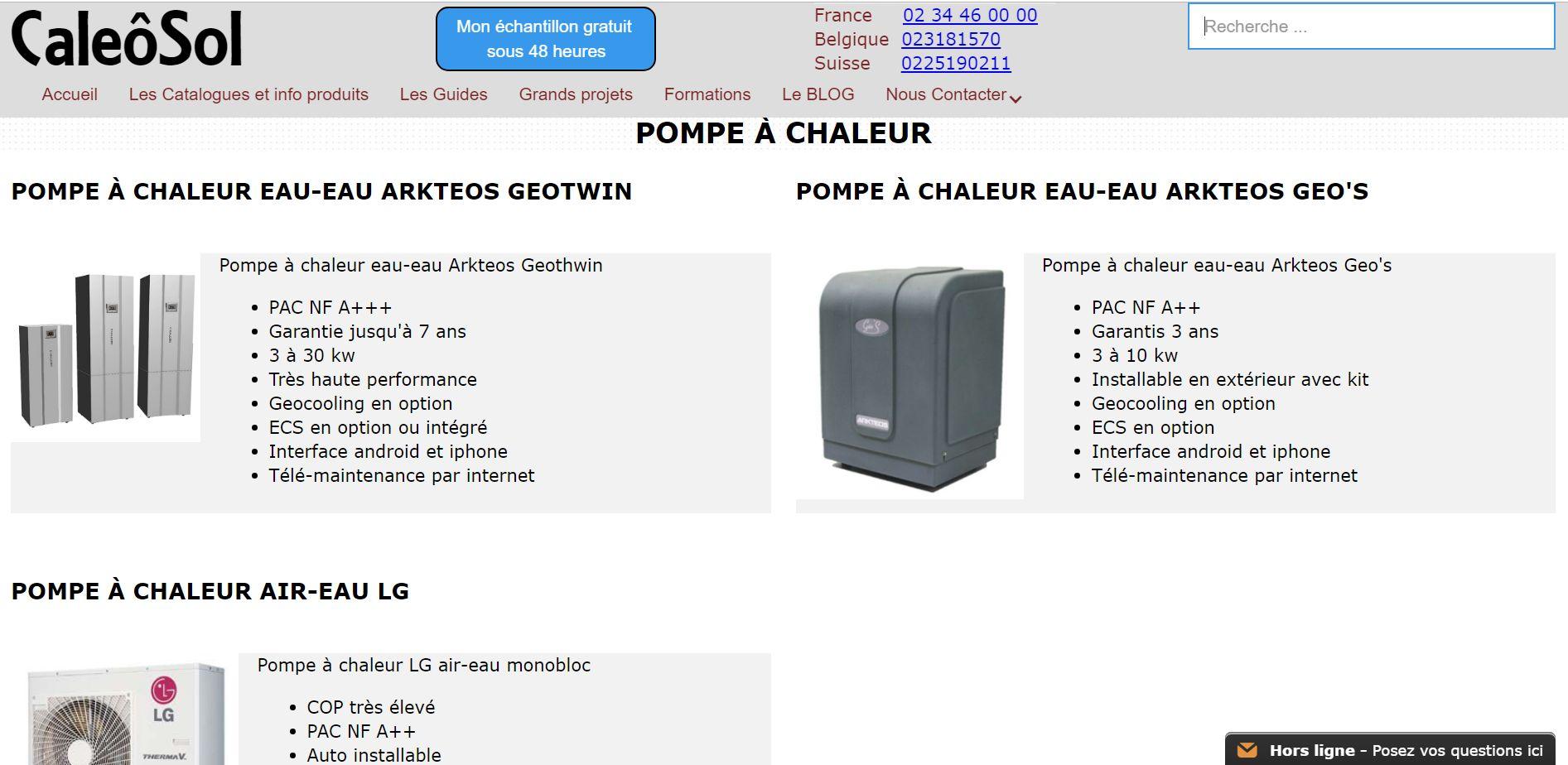 Catalogue de pompe à chaleur géothermique