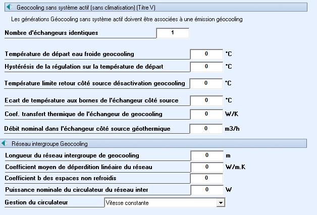 Grille de paramètres pour échangeur de bypass géocooling
