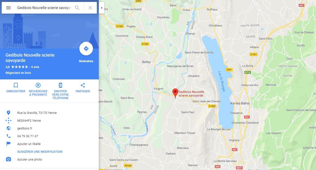 Position du magasin plancher chauffant Gedibois Nouvelle scierie savoyarde à Aix-les-Bains