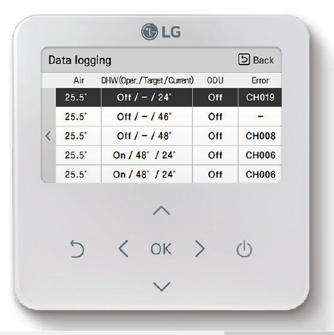 Data log pour pompe à chaleur LG Therma V R32