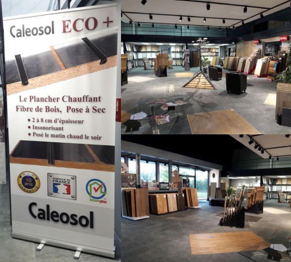 Showroom du magasin Parquet 37 à Tours, le magsin propose une large gamme de parquet flottant 14mm contre-collé bois compatible avec le plancher chauffant Caleosol.