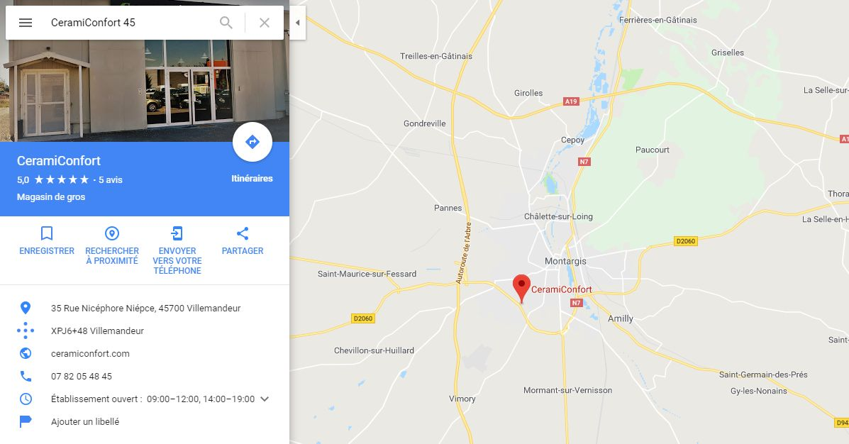 Position du magasin plancher chauffant Ceramiconfort à Montargis