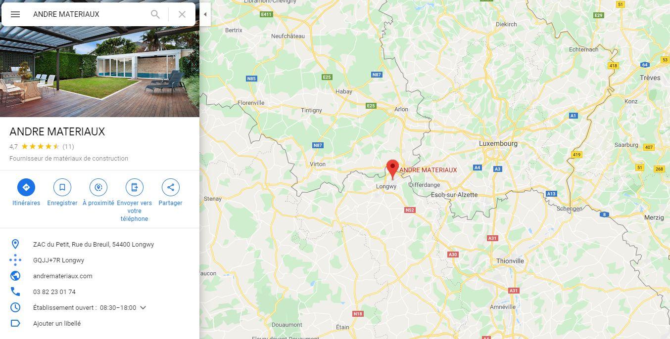 Position du magasin plancher chauffant André Matéraux à Longwy Luxembourg